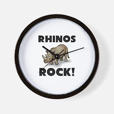 Rhinos Rock! Wall Clock