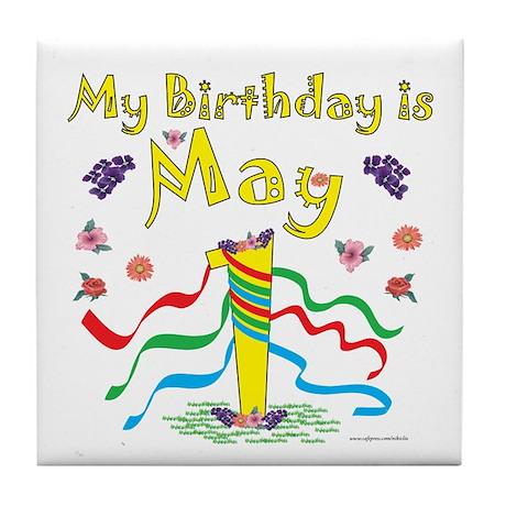 May Day May 1st Birthday Tile Coaster