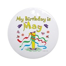 May Day May 1st Birthday Ornament (Round)