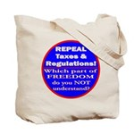 Repeal Taxes #3c Tote Bag