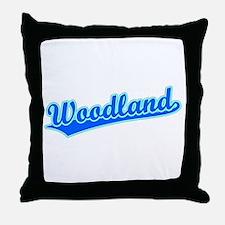 Retro Woodland (Blue) Throw Pillow