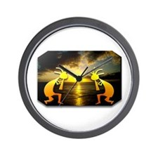 Two Kokopelli Sunset Wall Clock