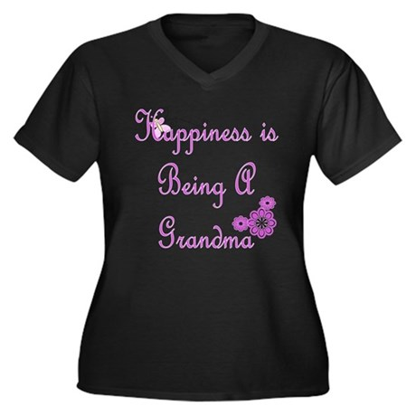 Happiness is being a Grandma Women's Plus Size V-N