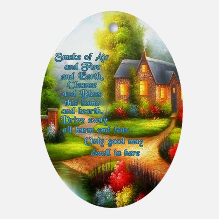 Wicca House Blessing Oval Ornament