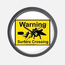 Surfers Crossing Wall Clock