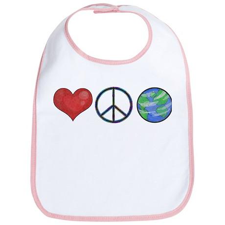 Love Peace Earth Bib