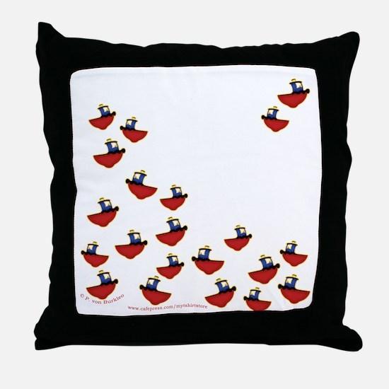 Teeny Tiny Tugboats Throw Pillow