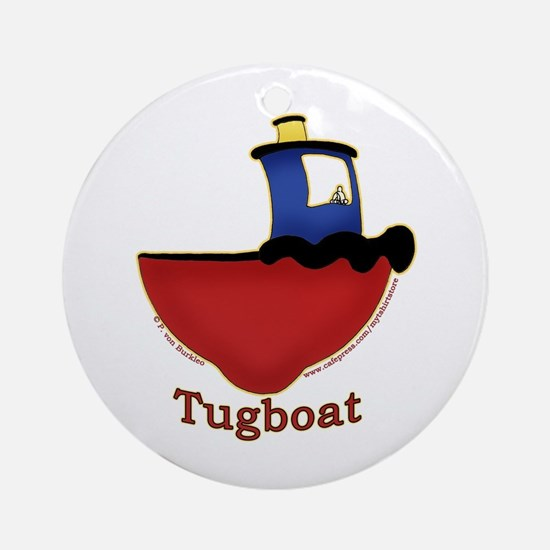 Cute Tugboat Picture Ornament (Round)