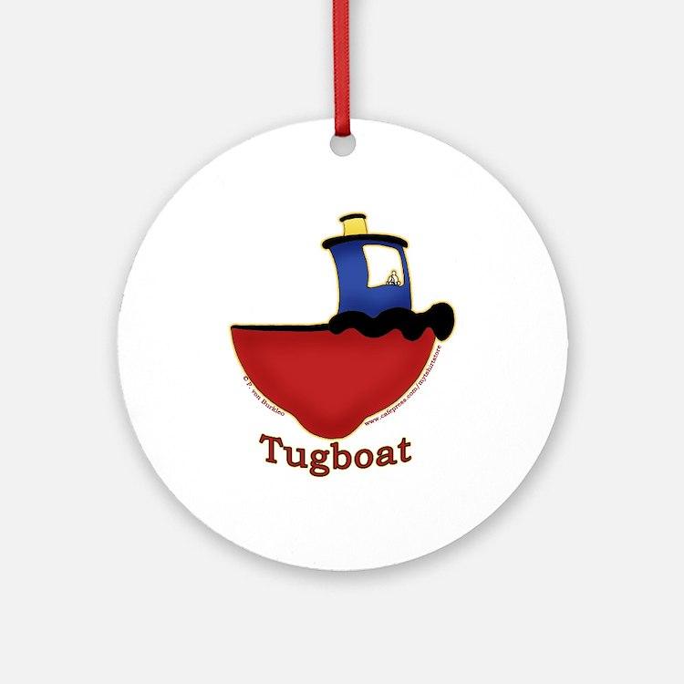Cute Tugboat Picture Ornament (Round)