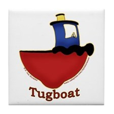Cute Tugboat Picture Tile Coaster