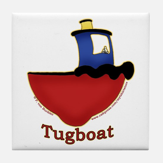 Cute Tugboat Picture Tile Coaster