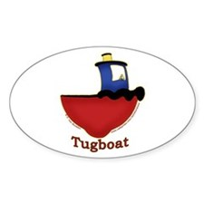 Cute Tugboat Picture Oval Decal