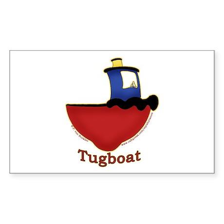 Cute Tugboat Picture Rectangle Sticker