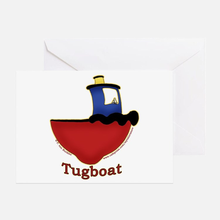 Cute Tugboat Picture Greeting Card