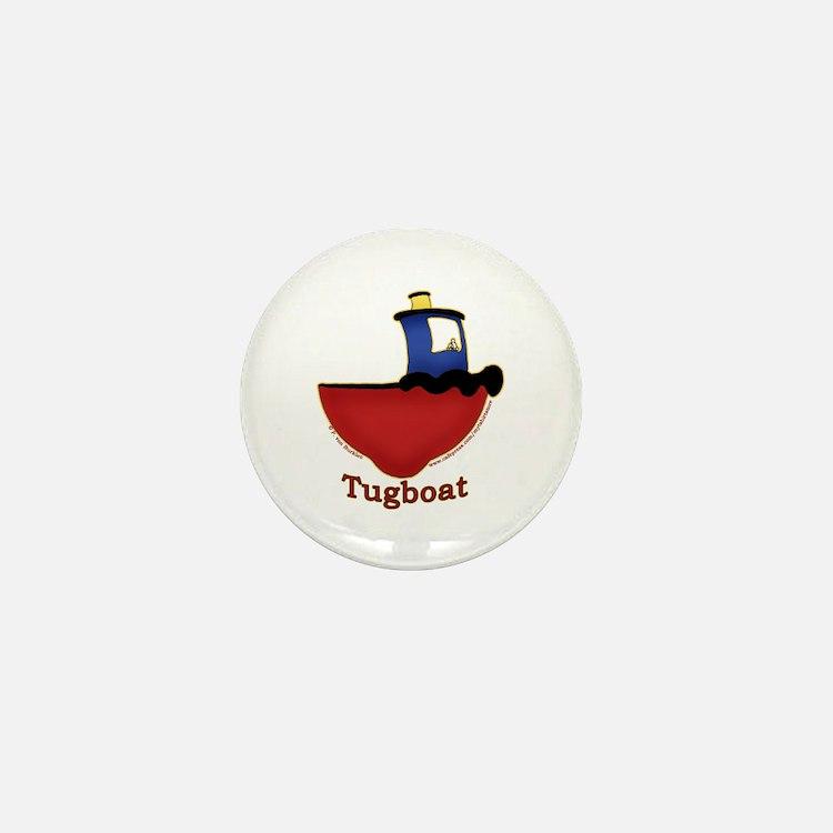 Cute Tugboat Picture Mini Button