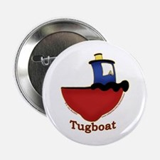 """Cute Tugboat Picture 2.25"""" Button"""