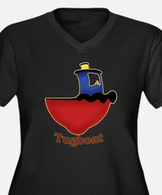 Cute Tugboat Picture Women's Plus Size V-Neck Dark
