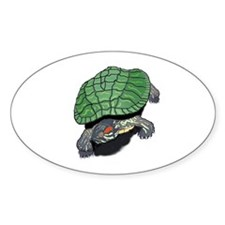 Red Eared Slider (Turtle) Oval Decal