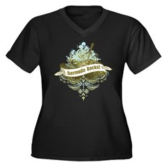 Bermuda Rocks Women's Plus Size V-Neck Dark T-Shir