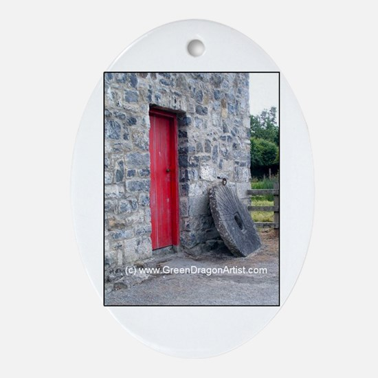 Funny Irish doors Oval Ornament