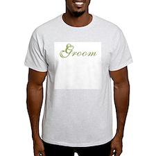 Green Text Groom Ash Grey T-Shirt