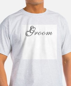 Gray Text Groom Ash Grey T-Shirt