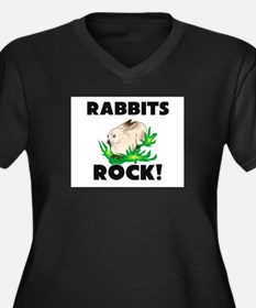 Rabbits Rock! Women's Plus Size V-Neck Dark T-Shir