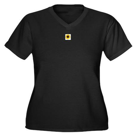 Sun Flower Women's Plus Size V-Neck Dark T-Shirt