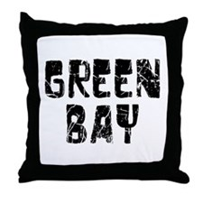 Green Bay Faded (Black) Throw Pillow