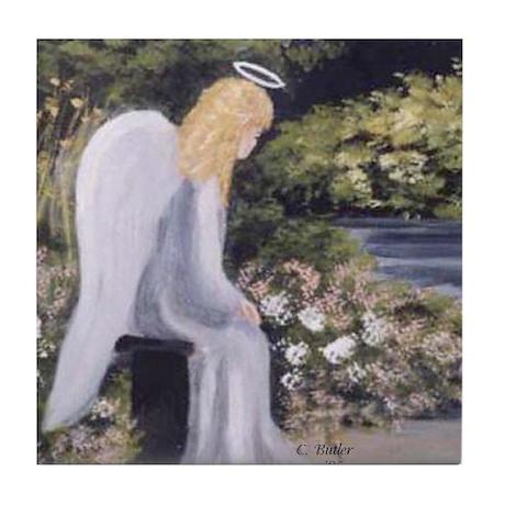Angel in Garden Tile Coaster