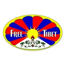 Free Tibet - Human Rights Oval Decal