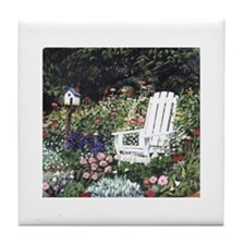 White Chair in Garden Tile Coaster