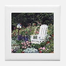 White Chair in Garden Tile Coaster