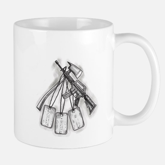 Crossed Fire Ax and M4 Rifle Dog Tags Tattoo Mugs