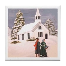 Couple in Snow Tile Coaster