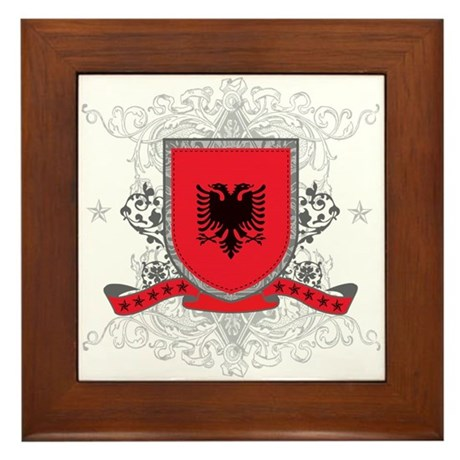 Albania Shield Framed Tile
