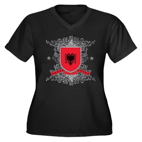 Albania Shield Women's Plus Size V-Neck Dark T-Shi