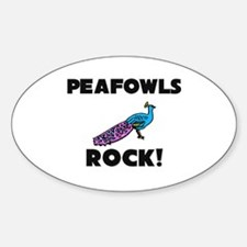 Peafowls Rock! Oval Decal
