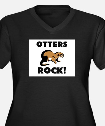Otters Rock! Women's Plus Size V-Neck Dark T-Shirt