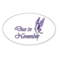 Due November Purple W Fairy Oval Decal