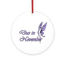 Due November Purple W Fairy Ornament (Round)