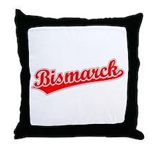 Retro Bismarck (Red) Throw Pillow