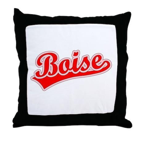 Retro Boise (Red) Throw Pillow