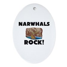 Narwhals Rock! Oval Ornament