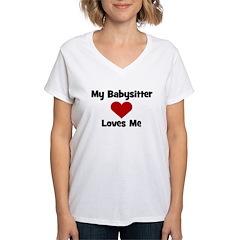 My Babysitter Loves Me! heart Women's V-Neck T-Shi