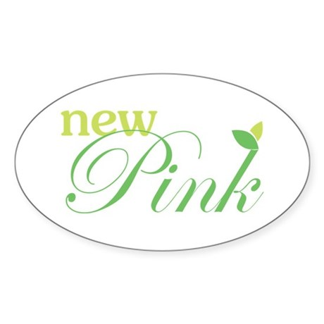 New Pink Oval Sticker
