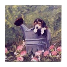 Beagle Puppy in Watering Can Tile Coaster