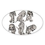 Dalmation Puppies Oval Sticker (10 pk)