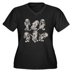 Dalmation Puppies Women's Plus Size V-Neck Dark T-