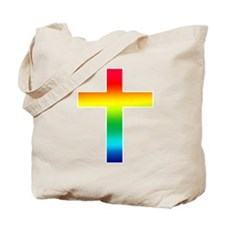 Rainbow Christian Cross Tote Bag